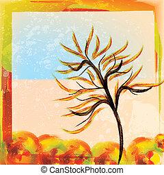 秋, 水彩画, 木, 背景
