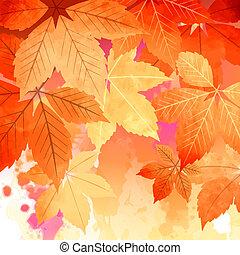 秋, 水彩画, 葉, ベクトル, 秋