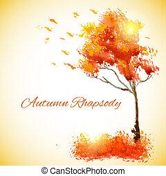 秋, 水彩画, 葉, 木, 落ちる