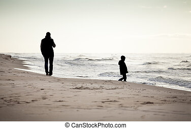 秋, 浜, 歩きなさい
