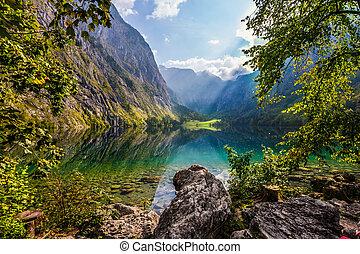 秋, 湖, 絵のよう, 山, 日