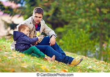 秋, 父, 公園, 遊び, 息子