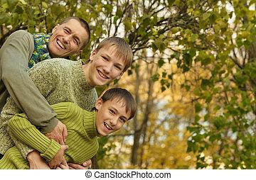 秋, 父, 息子, 公園
