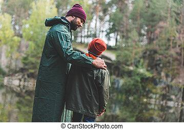 秋, 父, 森林, 息子