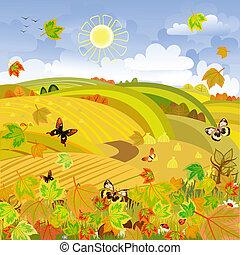秋, 田園, expanses, 風景