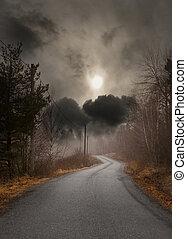 秋, 田舎の道路
