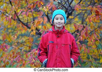 秋, 男の子, 幸せ, 屋外で