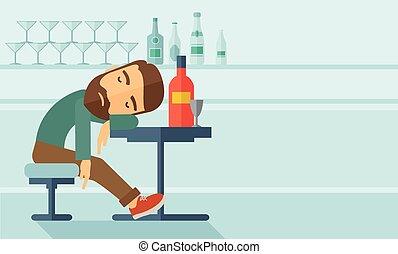 秋, 眠ったままで, pub., 人, 酔った