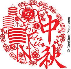 秋, 祝祭, 概念, 中央の, 中国語