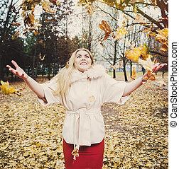 秋, 肖像画, 女, 公園, 若い