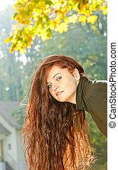 秋, 肖像画, 女, 若い