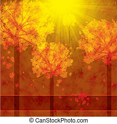 秋, 背景, ∥で∥, 木, そして, 落ち葉