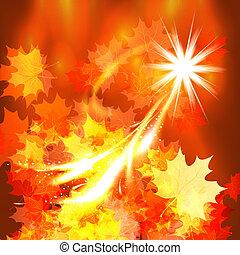 秋, 背景, 葉, デザイン