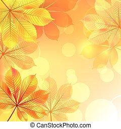 秋, 背景, 黄色, leaves.