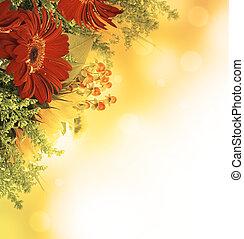 秋, 花, 花束, から, gerber, そして, ひまわり