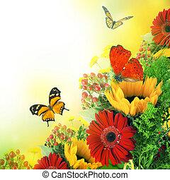 秋, 花, 花束, から, gerber, そして, 蝶
