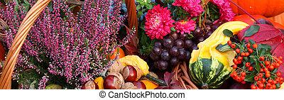 秋, 花, 野菜, そして, 成果