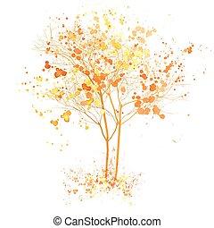 秋, 芸術, illustration., 木, 水彩画, はねる, 秋