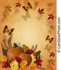 秋, 蝶, ボーダー, 感謝祭, 秋