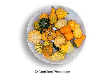 秋, 装飾用, ひょうたん, センターピース, カラフルである