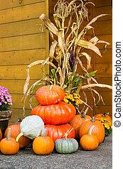 秋, 装飾, の, カボチャ