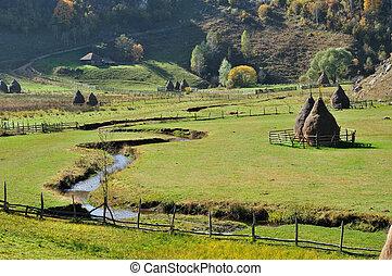 秋, 谷, haystacks, 風景