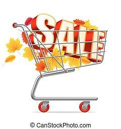 秋, 買い物, セール, カート