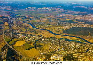 秋, 農地, 空中写真