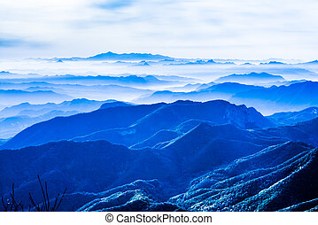 秋, 霧が濃い, 陶磁器, 風景
