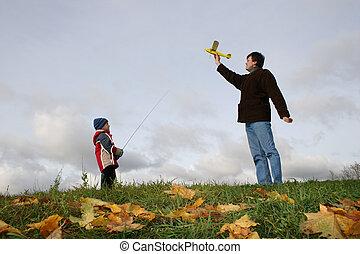 秋, 飛行機, 父, 息子