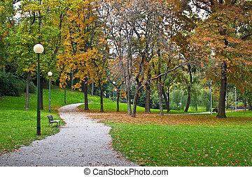 秋, croatia, 通り道, 公園, ザグレブ