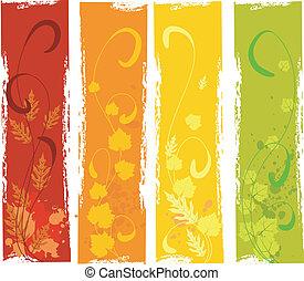 秋, grungy, 旗, セット