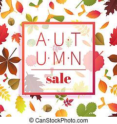 秋, illustration., カラフルである, banner., 見出し, 季節, 葉, 秋, セール, sale., 割引, ベクトル, バックグラウンド。, 招待, 白