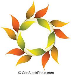 秋, leafs., ベクトル, オレンジ, 旗, ラウンド