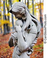 秋, madonna, 森林, 像, 子供