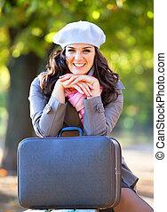 秋, outdoor., 女の子, スーツケース