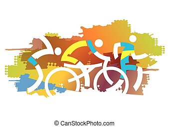 秋, triathlon, race.
