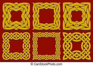 种族, 集合, 交織, 結, 交織, 廣場, stripes., 凱爾特語, 漢語, 框架, 元素, 邊框, 或者, ...