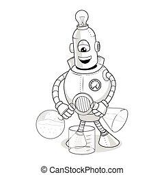 科学実験, ベクトル, 漫画, ロボット