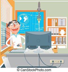 科学家, 执行, 实验, 卡通漫画, 矢量