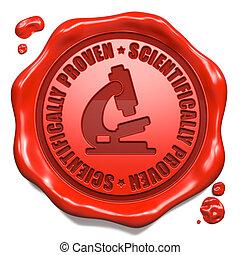 科学的に, proven, -, 切手, 上に, 赤, ワックス, seal.