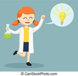 科学者, callout, 考え, 女性