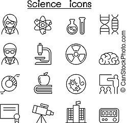 科学, アイコン, セット, 中に, 薄いライン, スタイル