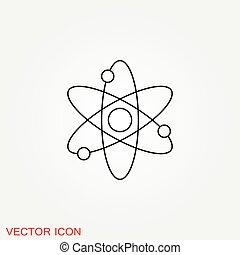 科学, アイコン, 黒, 原子, アイコン, フィクション