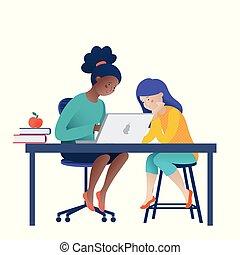 科学, コンピュータ, 女の子, 2, 宿題