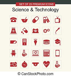 科学, セット, 技術, 赤, アイコン