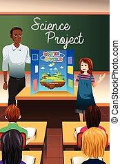 科学, プレゼンテーション, 持つこと, 学生