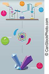 科学, プロセス, イラスト, 研究, 化学物質, infographics., crystals., 将官, 生産する, scheme.