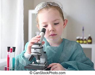 科学, 仕事, 概念, わずかしか, 家, 彼女, laboratory., 女の子, future., 子供