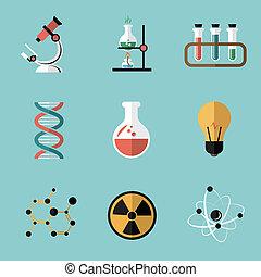 科学, 化学, セット, 平ら, アイコン